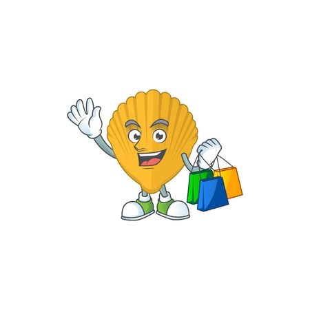Happy rich yellow clamp Caricature picture with shopping bags. Vector illustration