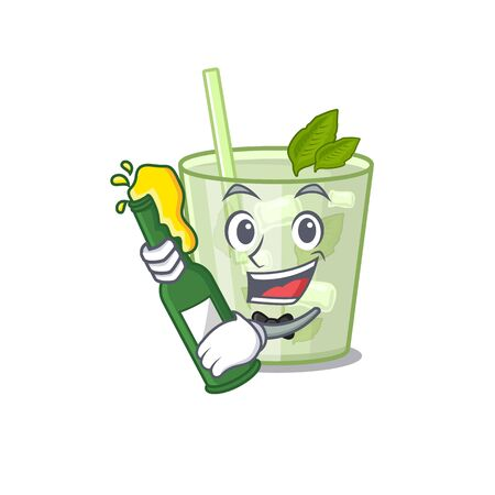 caricature design concept of mojito lemon cocktail cheers with bottle of beer