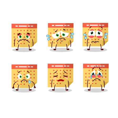 Calendar cartoon in character with sad expression