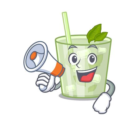 Mascot design of mojito lemon cocktail announcing new products on a megaphone  イラスト・ベクター素材