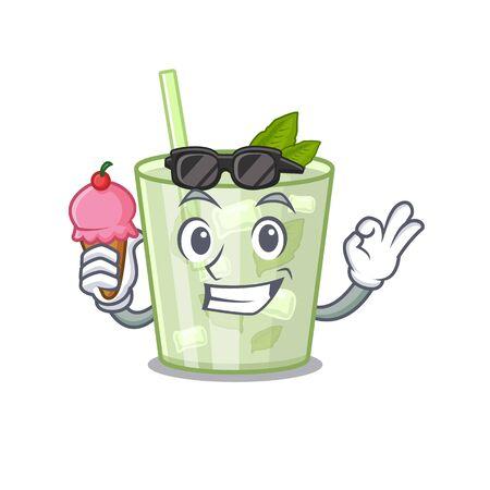 A cartoon drawing of mojito lemon cocktail holding cone ice cream  イラスト・ベクター素材