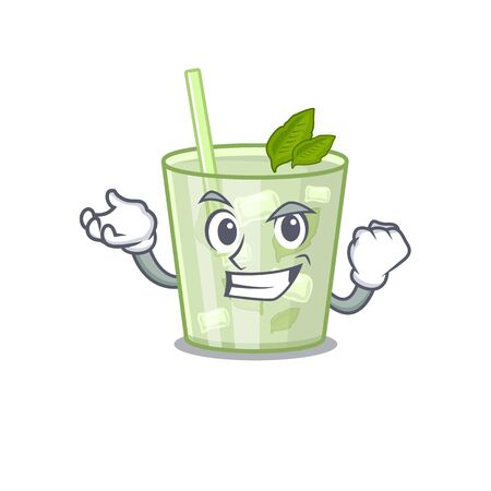 A funny cartoon design concept of mojito lemon cocktail with happy face