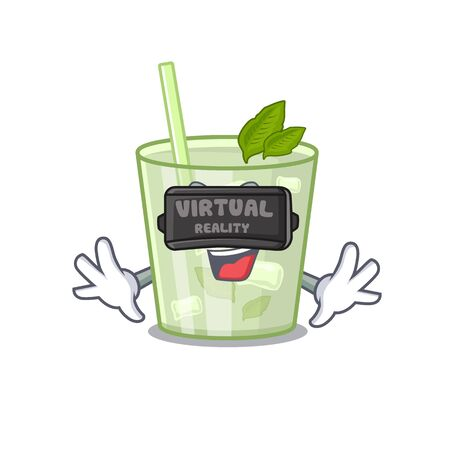 A cartoon image of mojito lemon cocktail using modern Virtual Reality headset