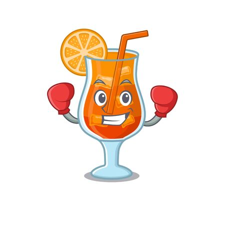 Mascot design of mai tai cocktail as a sporty boxing athlete