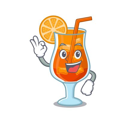 Mai tai cocktail mascot design style showing Okay gesture finger