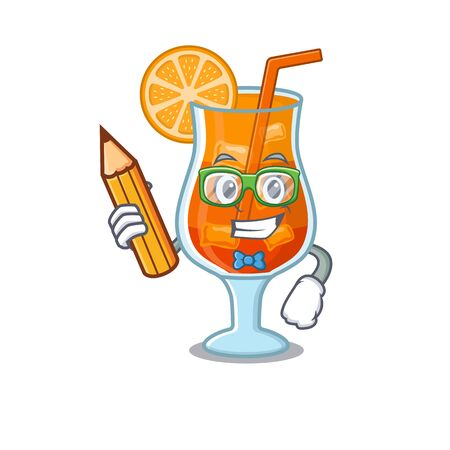 A clever student mai tai cocktail cartoon character study at home