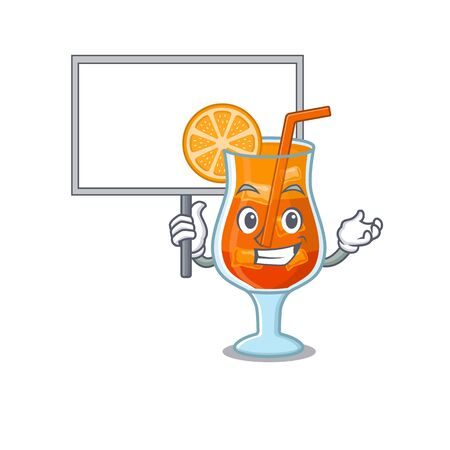 Cartoon picture of mai tai cocktail mascot design style carries a board
