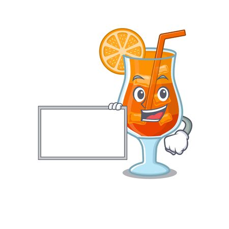 Cartoon character design of mai tai cocktail holding a board