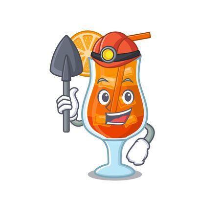 A cartoon picture of mai tai cocktail miner with tool and helmet Ilustração