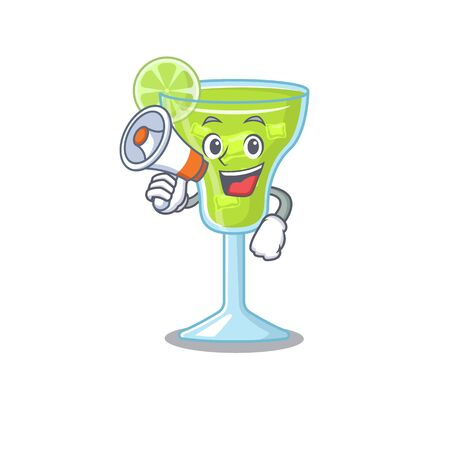 Mascot design of margarita cocktail announcing new products on a megaphone Vectores