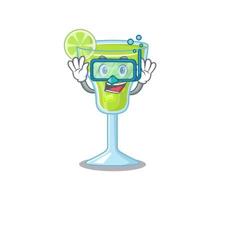 margarita cocktail mascot design swims with diving glasses Ilustração