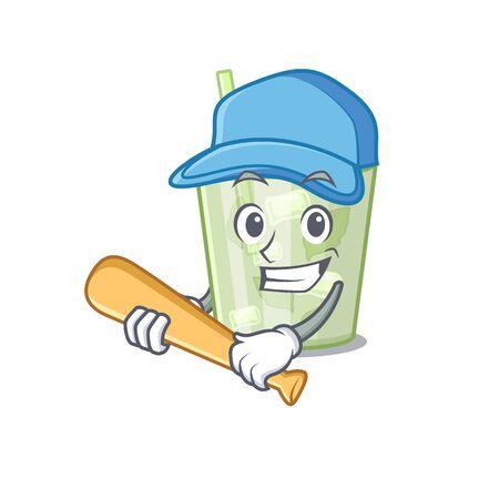 Attractive mojito lemon cocktail caricature character playing baseball