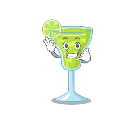 Caricature design of margarita cocktail showing call me funny gesture