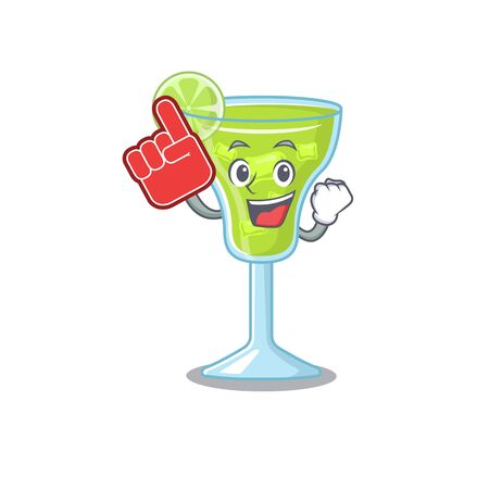Margarita cocktail in cartoon drawing character design with Foam finger