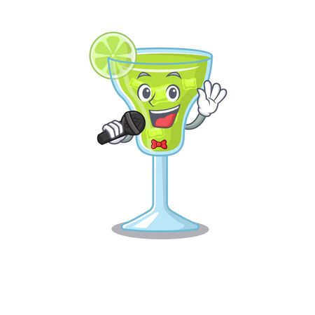 cartoon character of margarita cocktail sing a song with a microphone