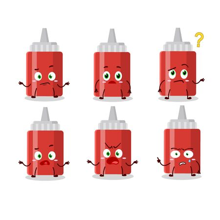 Cartoon character of sauce bottle with what expression