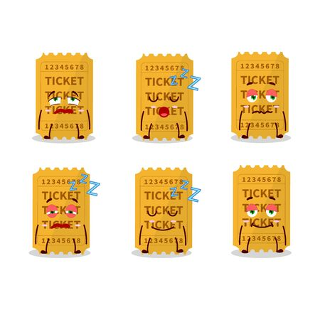 Cartoon character of ticket with sleepy expression Stock Illustratie