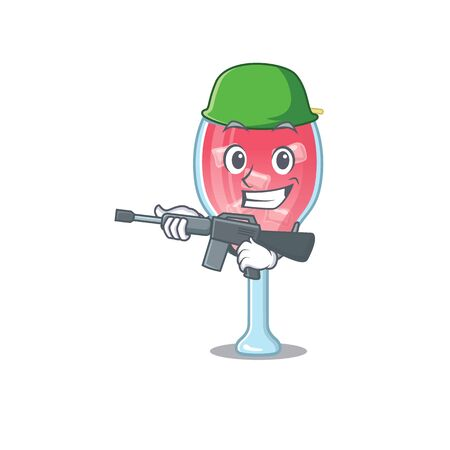 A cartoon picture of Army cosmopolitan cocktail holding machine gun Vectores