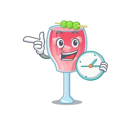 mascot design style of cosmopolitan cocktail standing with holding a clock