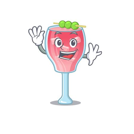 A charming cosmopolitan cocktail mascot design style smiling and waving hand