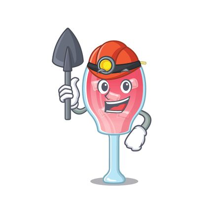 A cartoon picture of cosmopolitan cocktail miner with tool and helmet