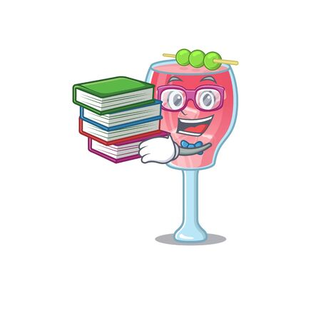 A diligent student in cosmopolitan cocktail mascot design concept read many books