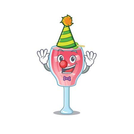 smiley clown cosmopolitan cocktail cartoon character design concept