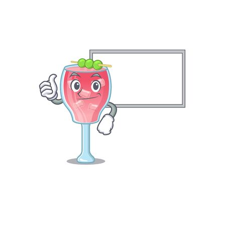 Cosmopolitan cocktail cartoon design with Thumbs up finger bring a white board 向量圖像