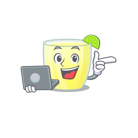 Smart cartoon character of daiquiri cocktail studying at home with a laptop