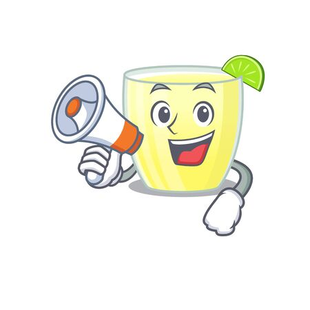 Mascot design of daiquiri cocktail announcing new products on a megaphone