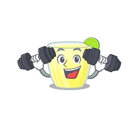 Daiquiri cocktail mascot design feels happy lift up barbells during exercise Vettoriali