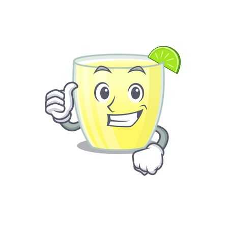 Daiquiri cocktail cartoon character design showing OK finger