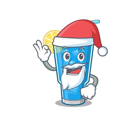 cartoon character of blue lagoon cocktail Santa having cute ok finger Ilustrace
