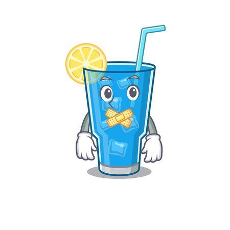 Blue lagoon cocktail cartoon character style having strange silent face