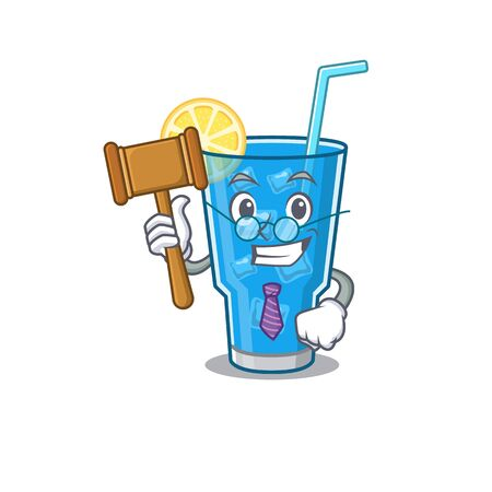 A wise judge of blue lagoon cocktail mascot design wearing glasses
