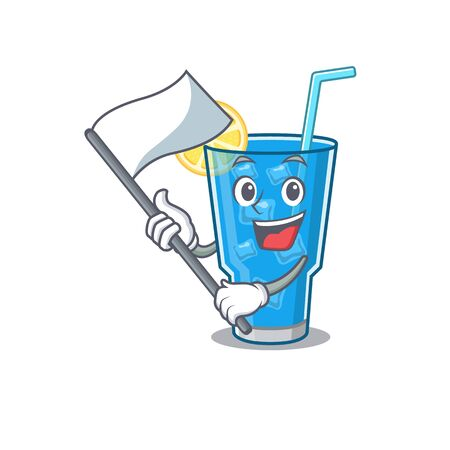 A heroic blue lagoon cocktail mascot character design with white flag Illustration
