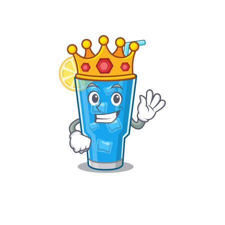 A Wise King of blue lagoon cocktail mascot design style with gold crown