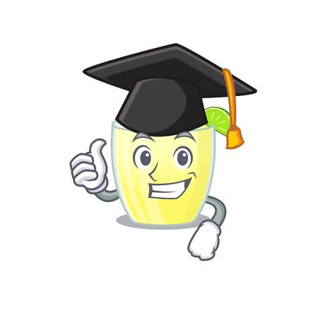 Happy proud of daiquiri cocktail caricature design with hat for graduation ceremony