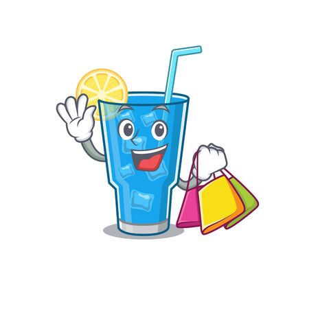 wealthy blue lagoon cocktail cartoon character with shopping bags Ilustracje wektorowe