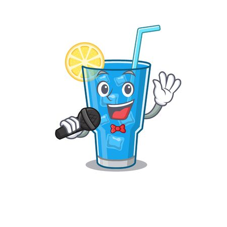 cartoon character of blue lagoon cocktail sing a song with a microphone