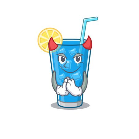Blue lagoon cocktail clothed as devil cartoon character design concept
