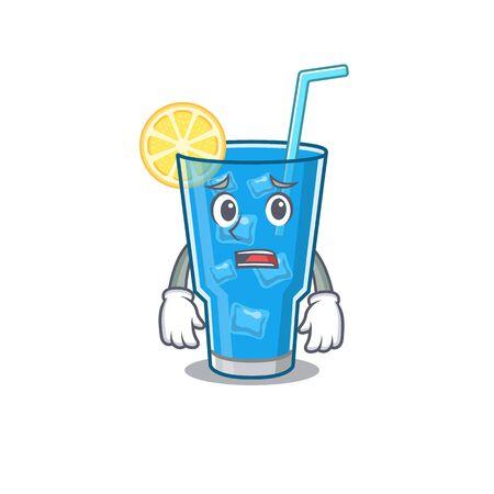 Cartoon design style of blue lagoon cocktail having worried face