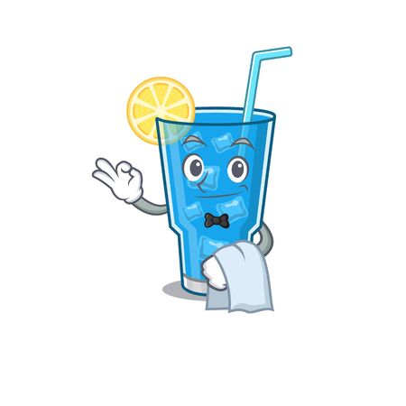 A cartoon picture of blue lagoon cocktail waiter with a white napkin