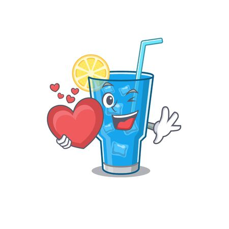 A sweet blue lagoon cocktail cartoon character style holding a big heart