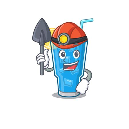 A cartoon picture of blue lagoon cocktail miner with tool and helmet