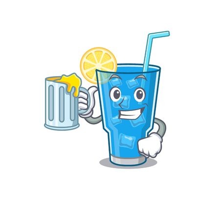 A cartoon concept of blue lagoon cocktail with a glass of beer