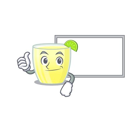 Daiquiri cocktail cartoon design with Thumbs up finger bring a white board