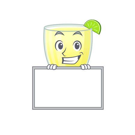 Daiquiri cocktail cartoon design style standing behind a board