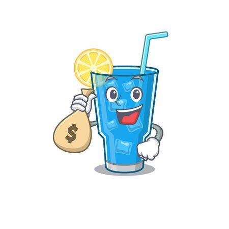 Crazy rich blue lagoon cocktail mascot design having money bags