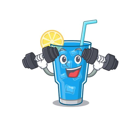 Blue lagoon cocktail mascot design feels happy lift up barbells during exercise